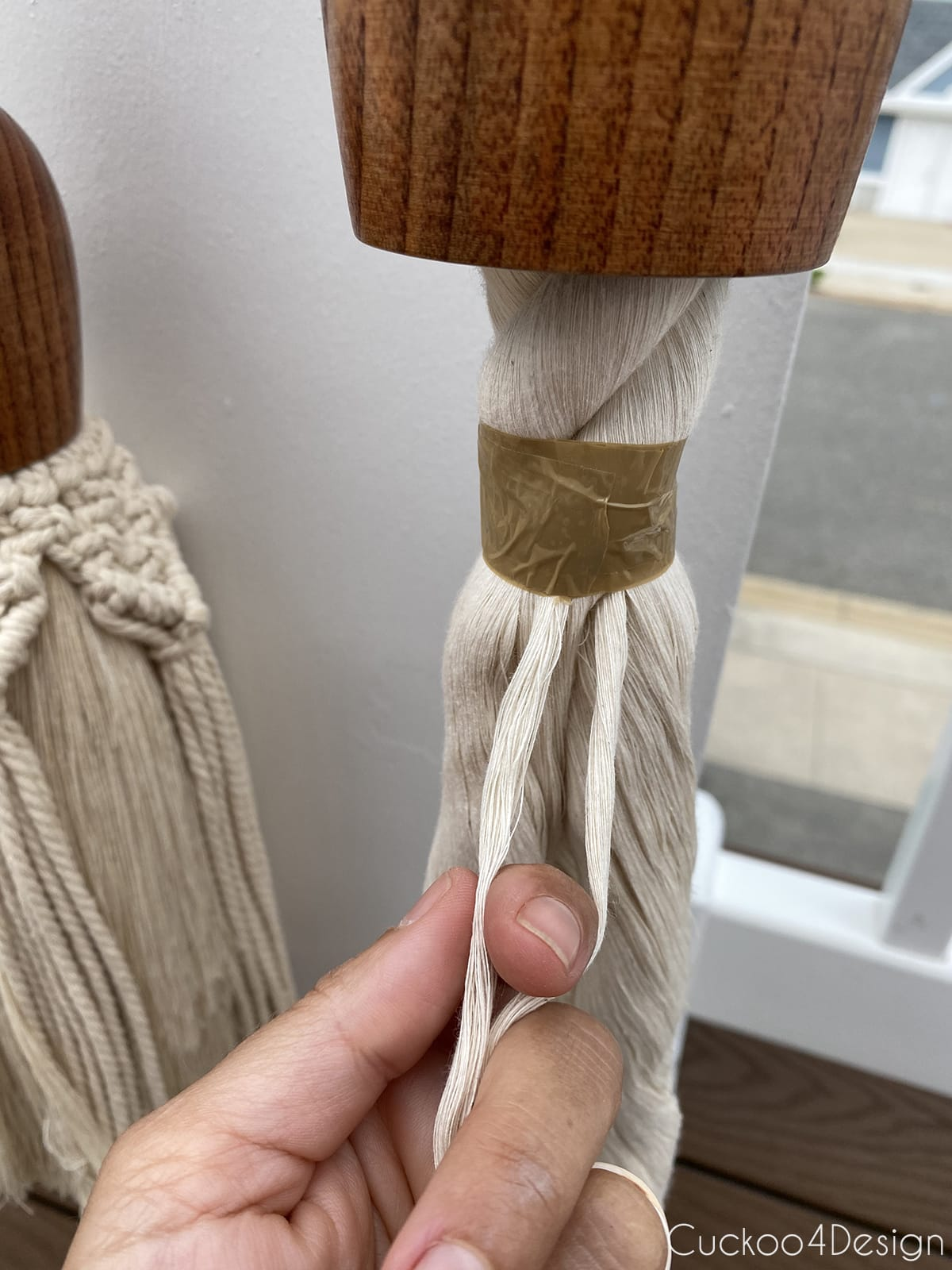 unraveling the ends of the cotton rope