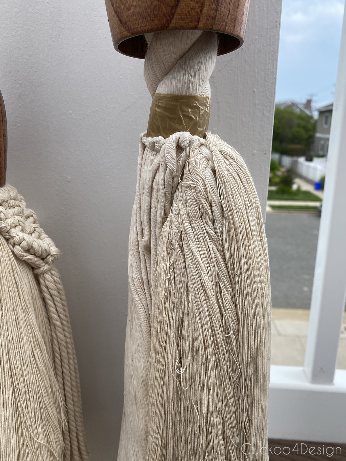 side view of cotton rope and macrame yarn