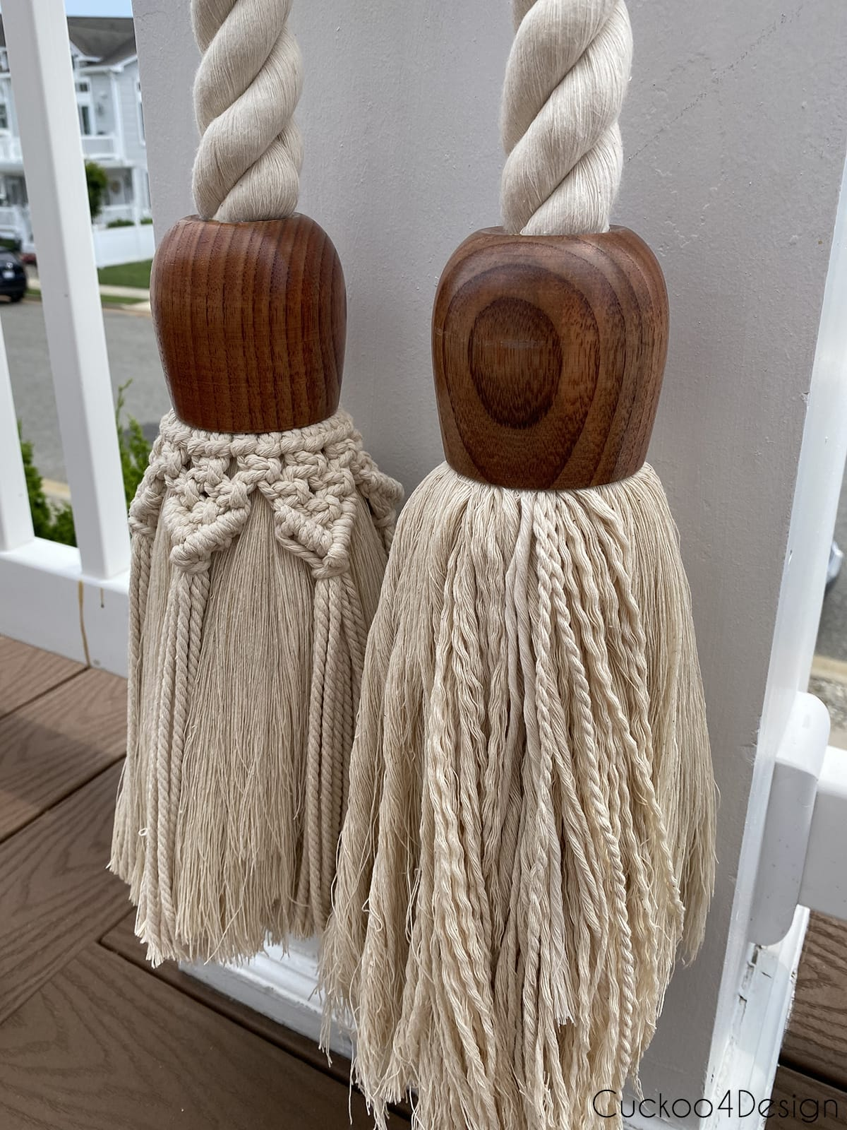 view of both tassels before trimming
