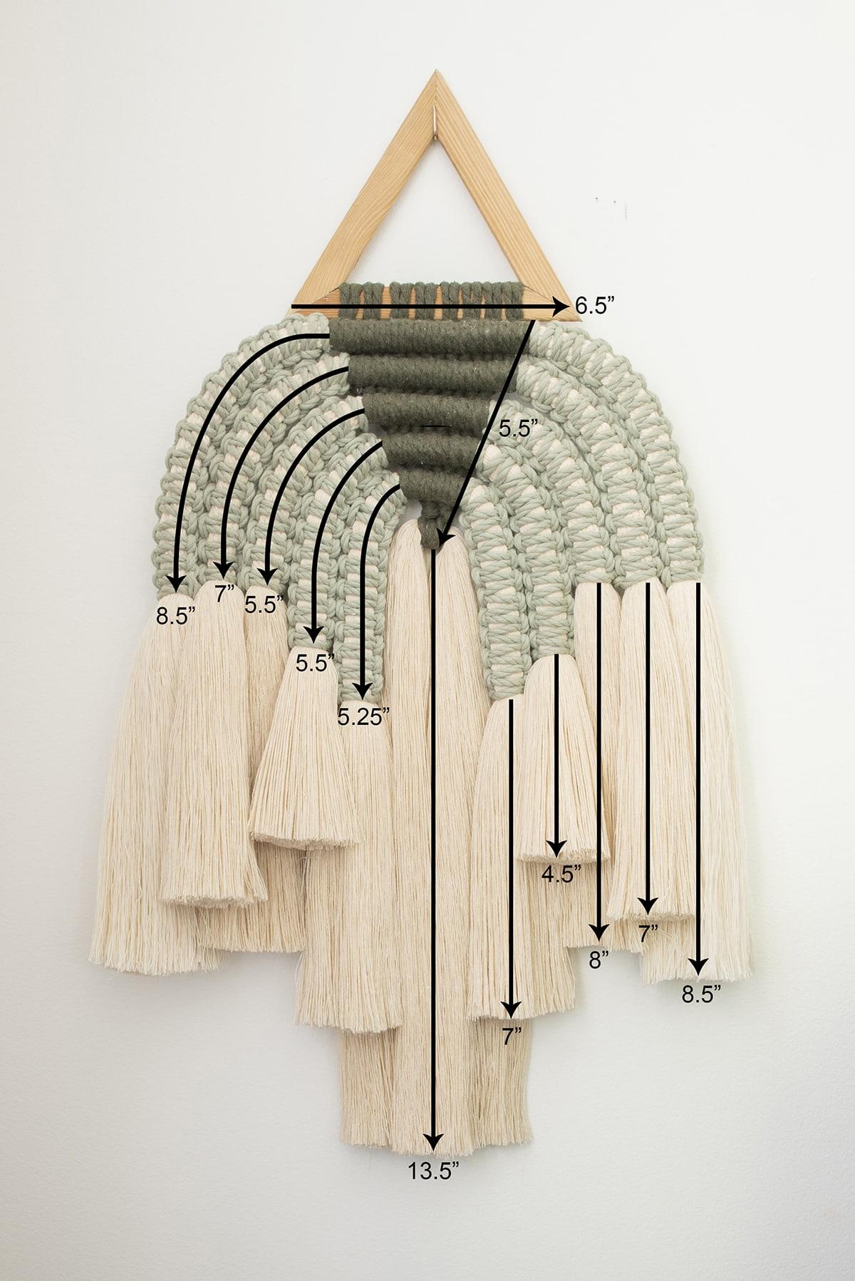 measurements of modern macrame piece