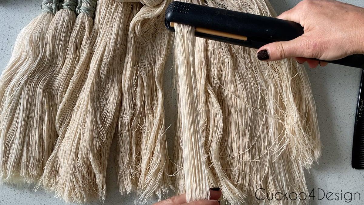 combing and straightening macrame yarn