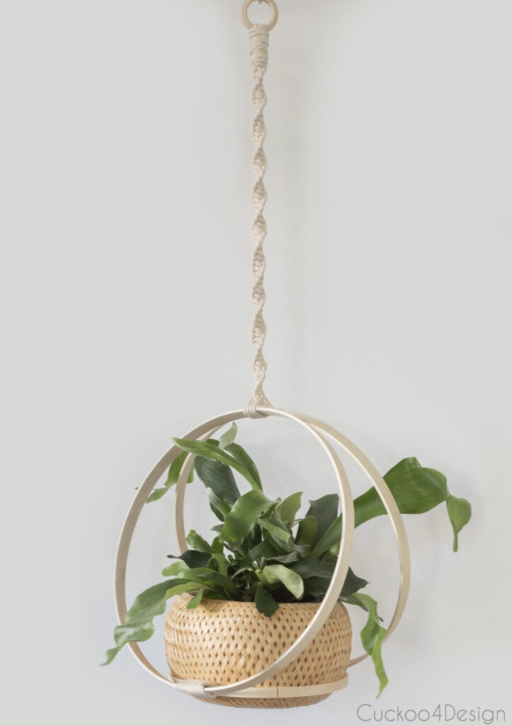 finished planter hanging against white wall