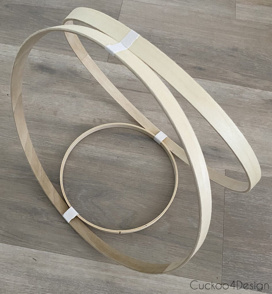 "9"" hoop taped to 14"" hoops"