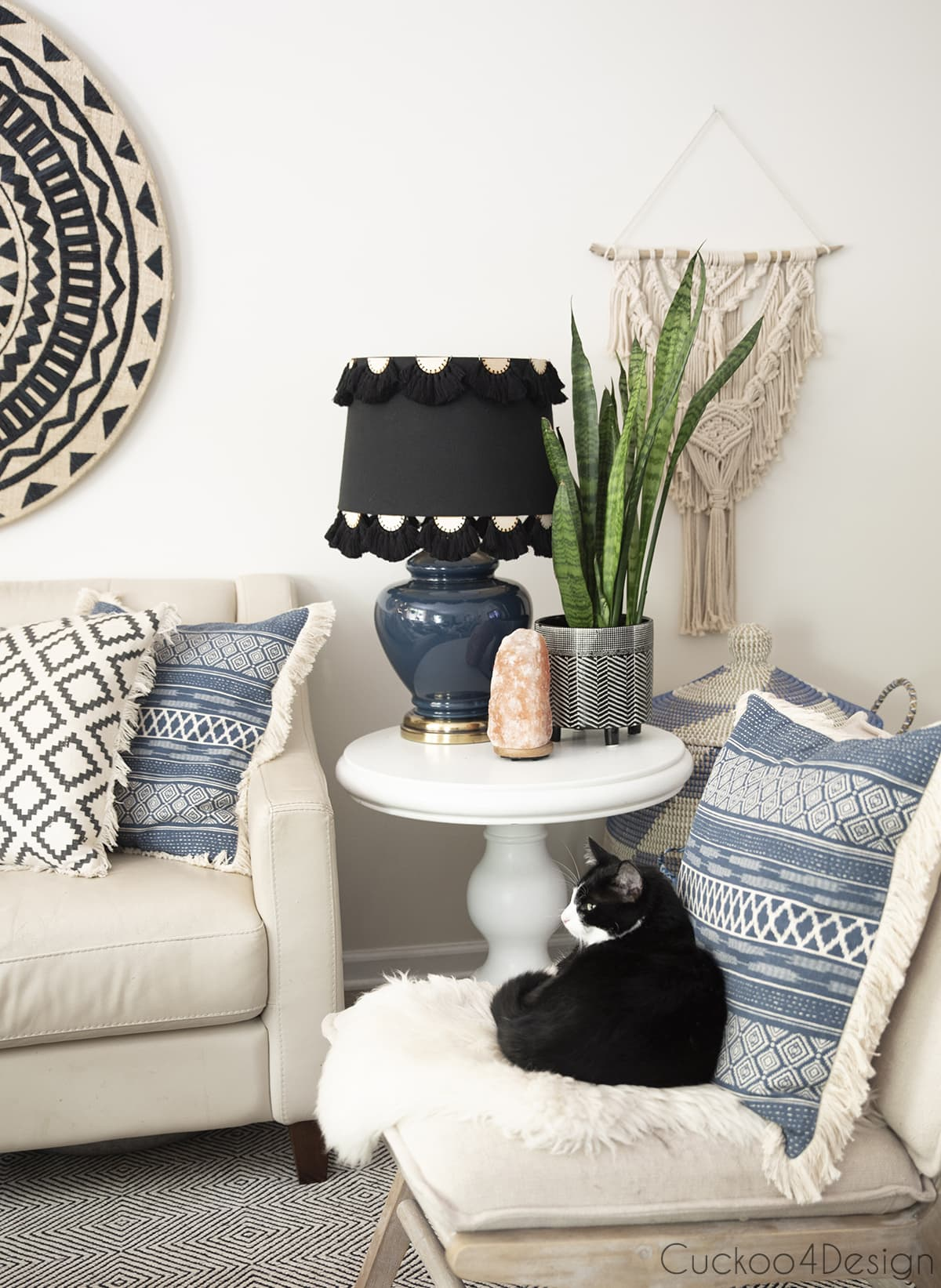 black version of Anthropologie lamp shade knock off