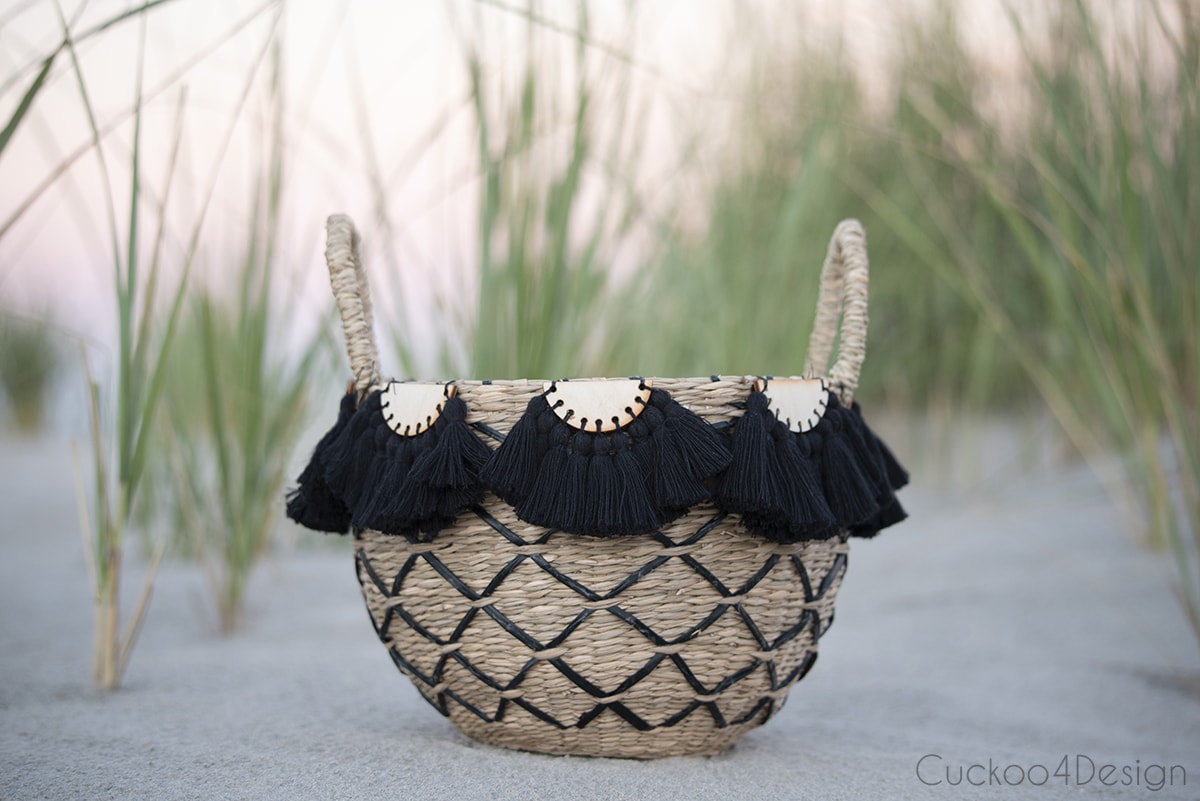 black half-moon tassel embellishments on basket