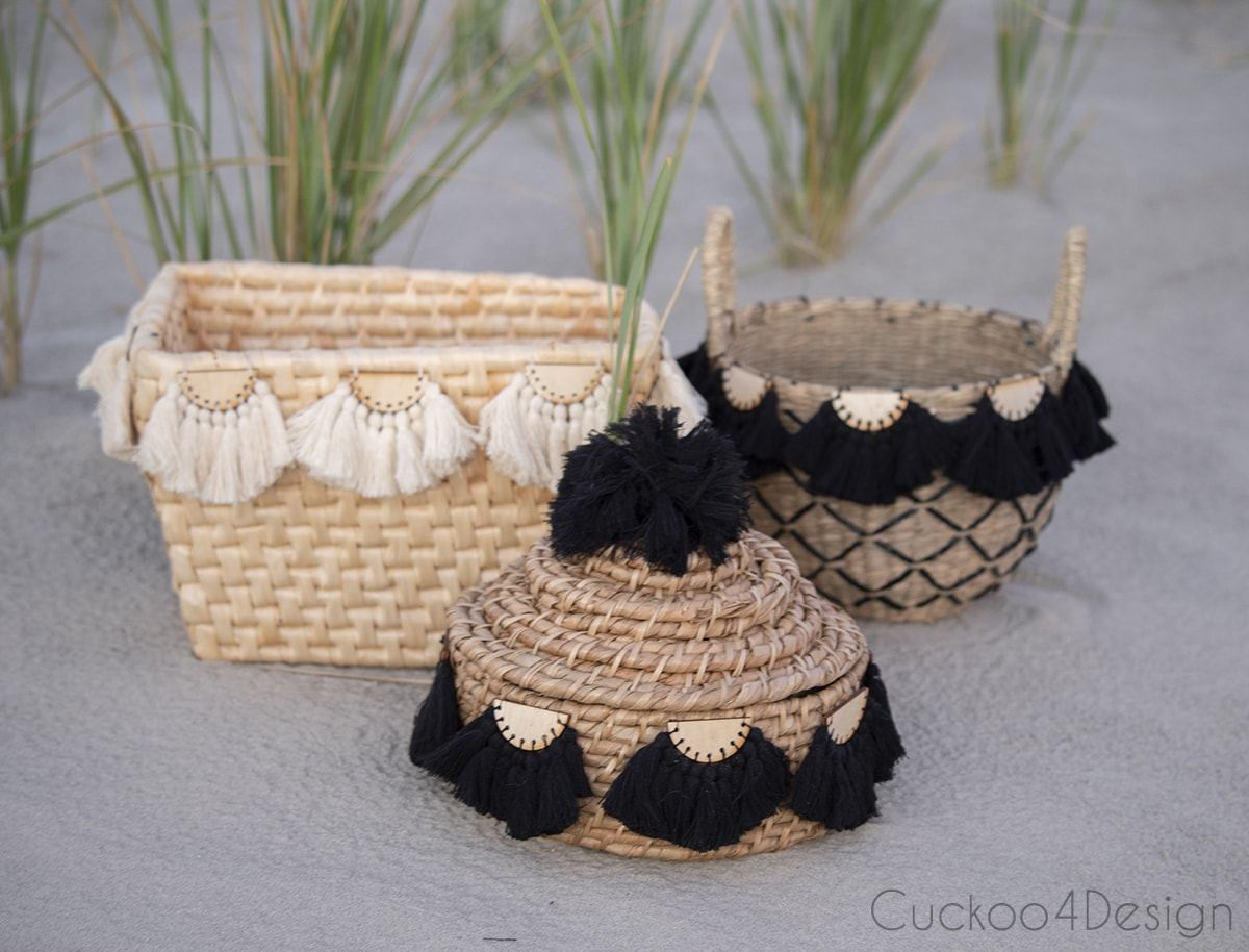 group of baskets with half-moon tassel embellishments