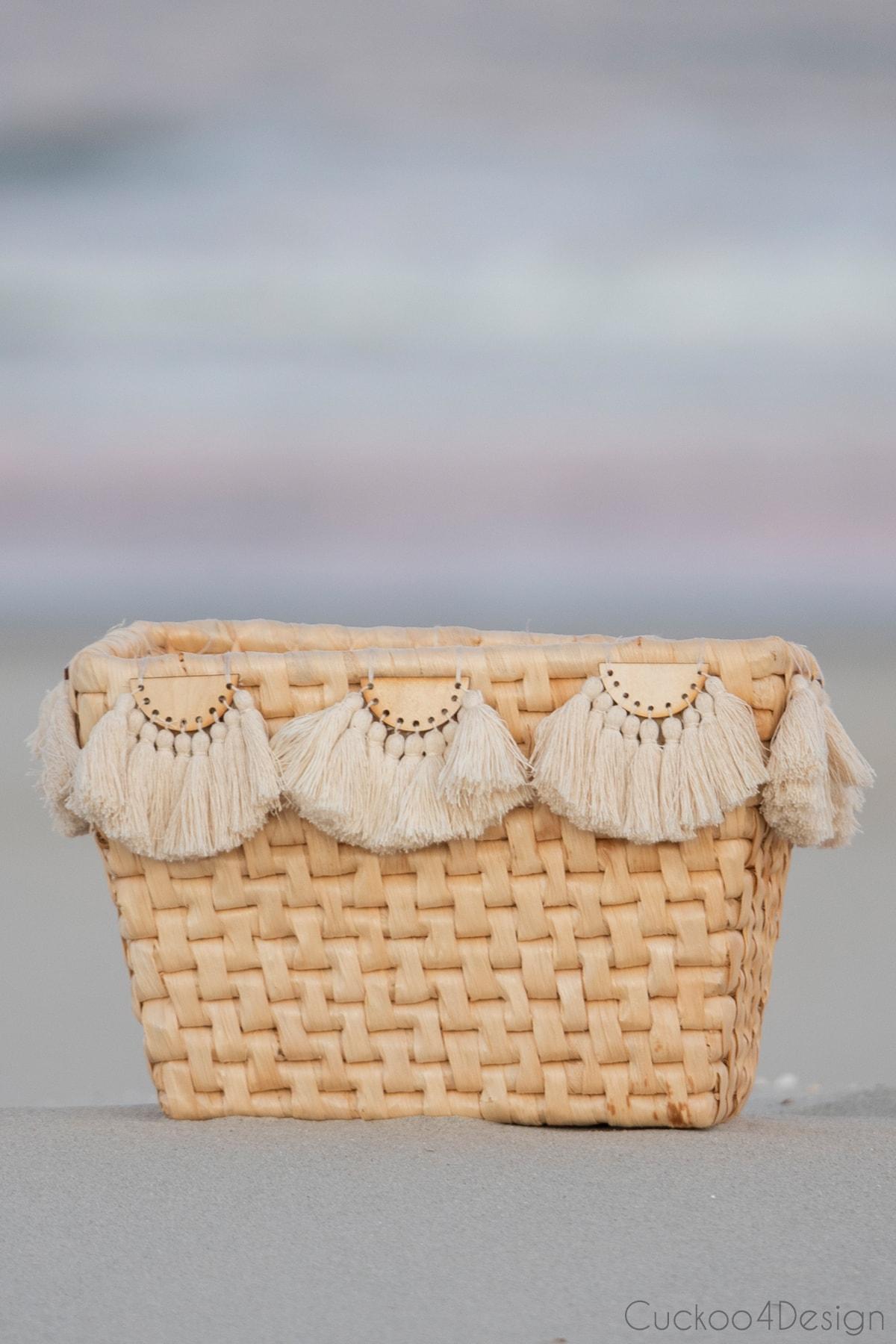 finished basket with half-moon tassel embellishments