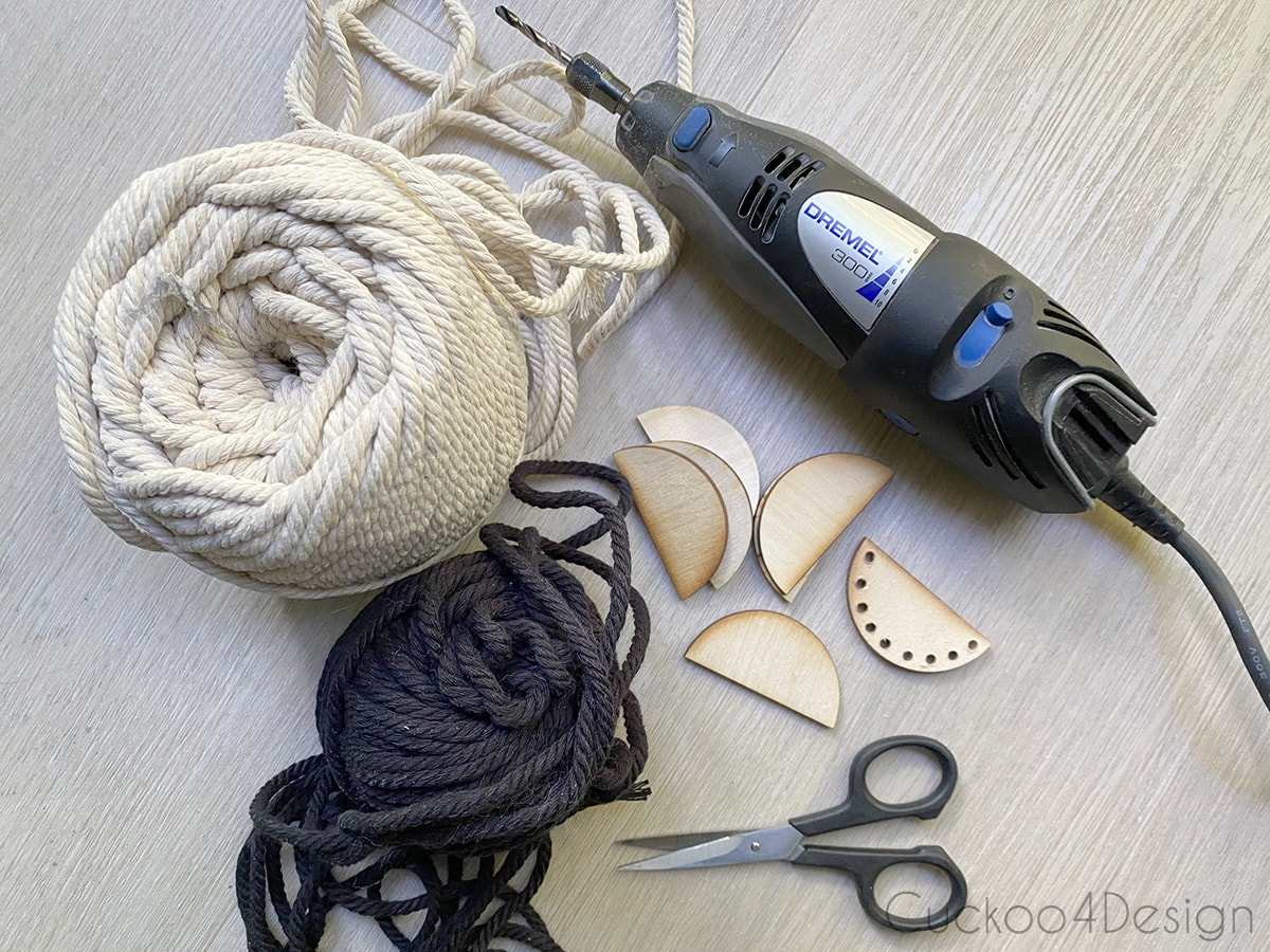 materials needed to make half-moon tassel embellishment