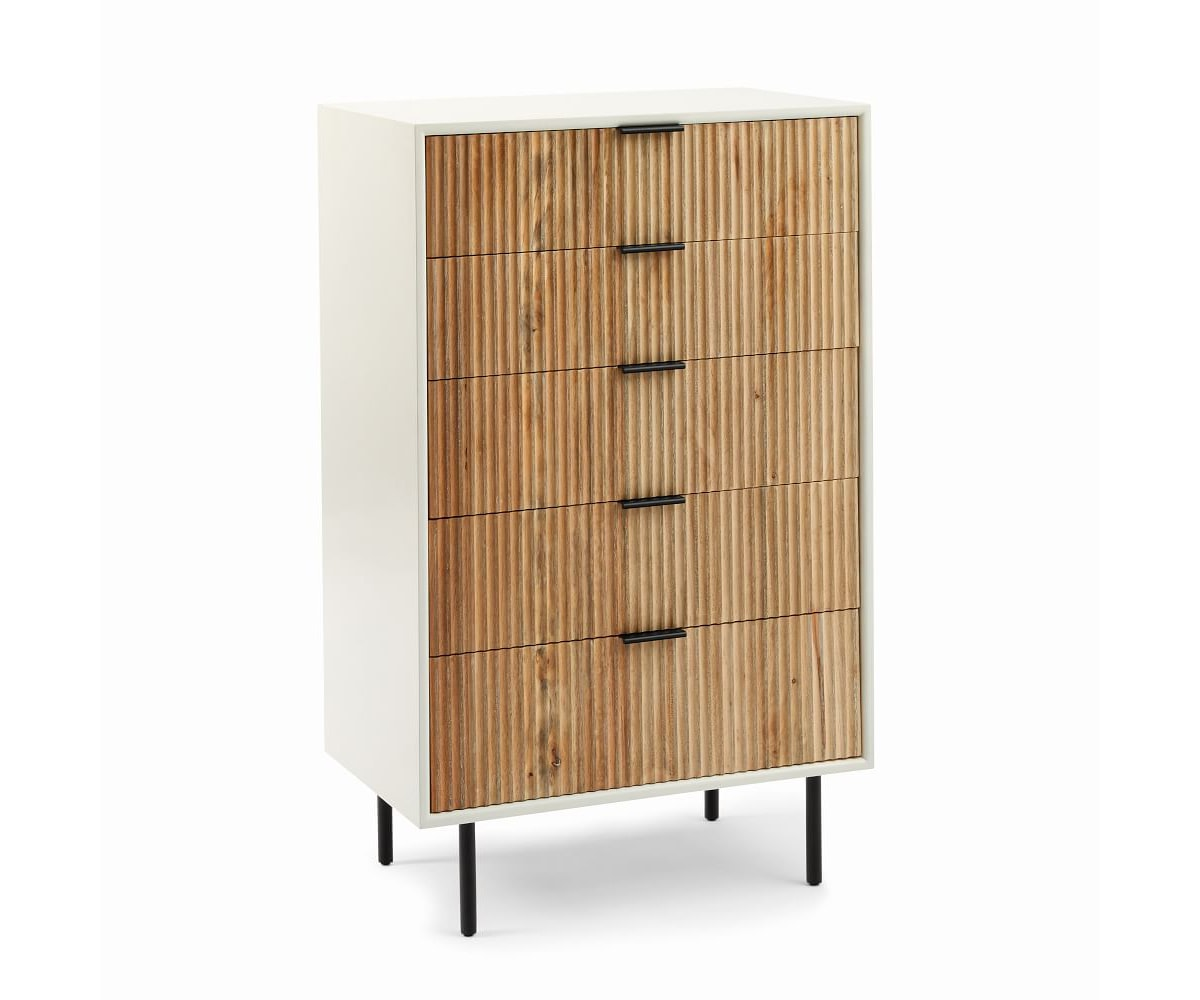 white and wood West Elm fluted dresser