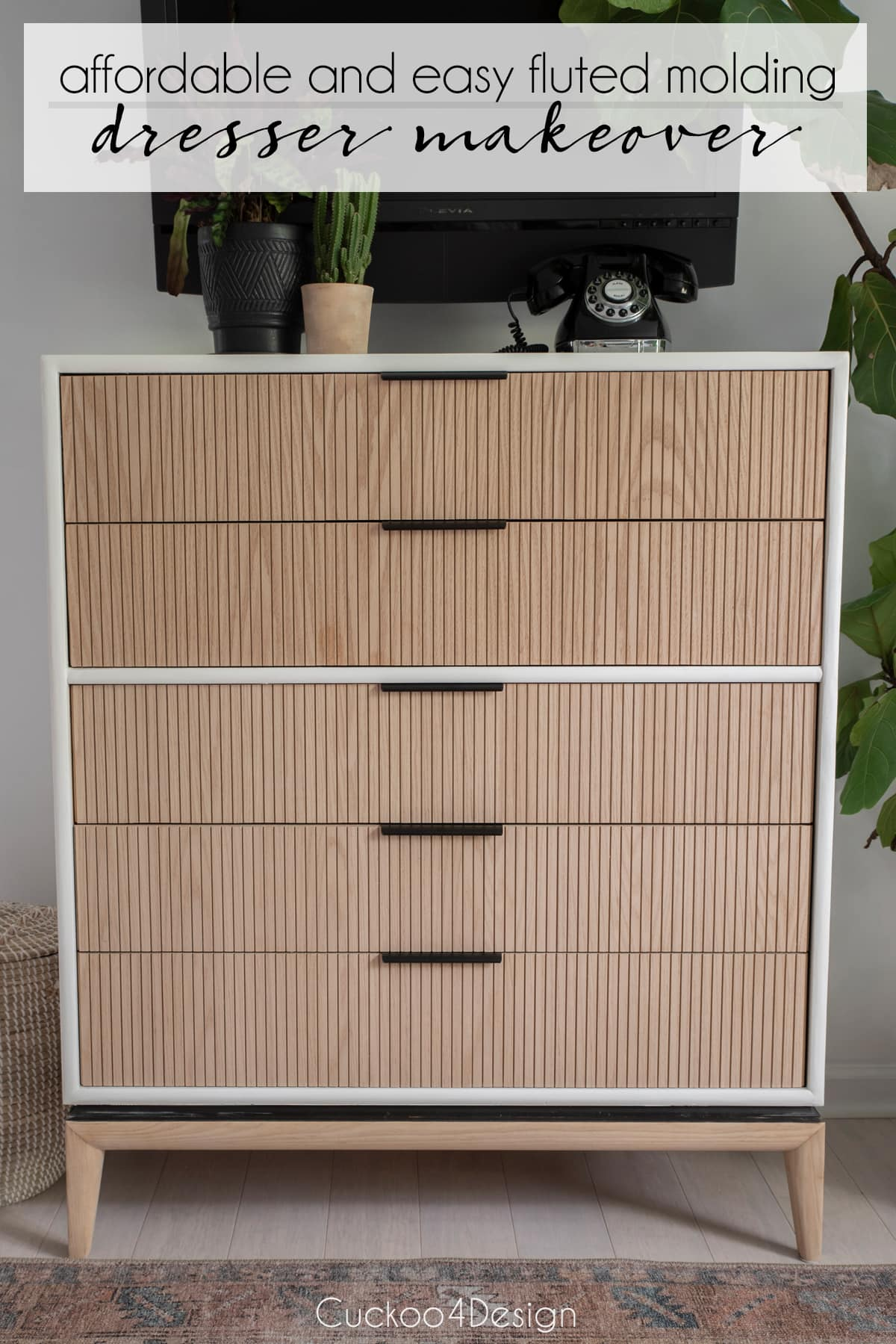 how to reface drawers with fluted molding