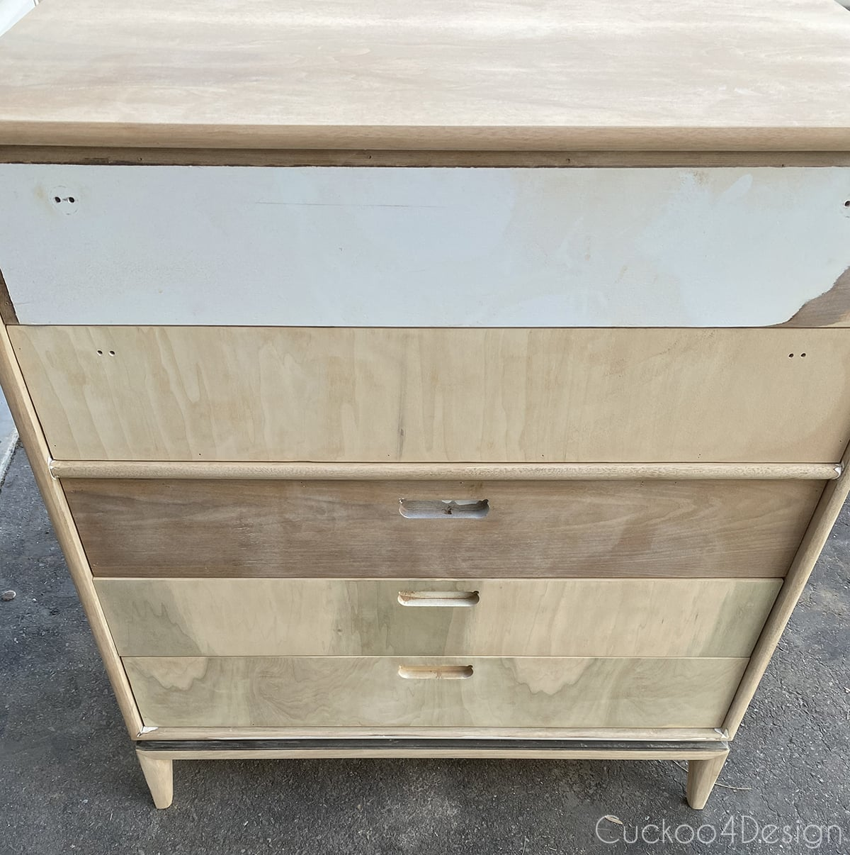 mismatched wooden drawer fronts