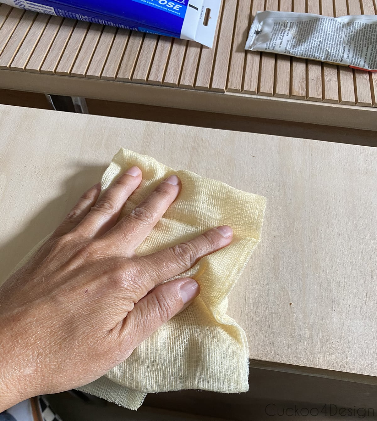 wiping sanded drawers with tack cloth