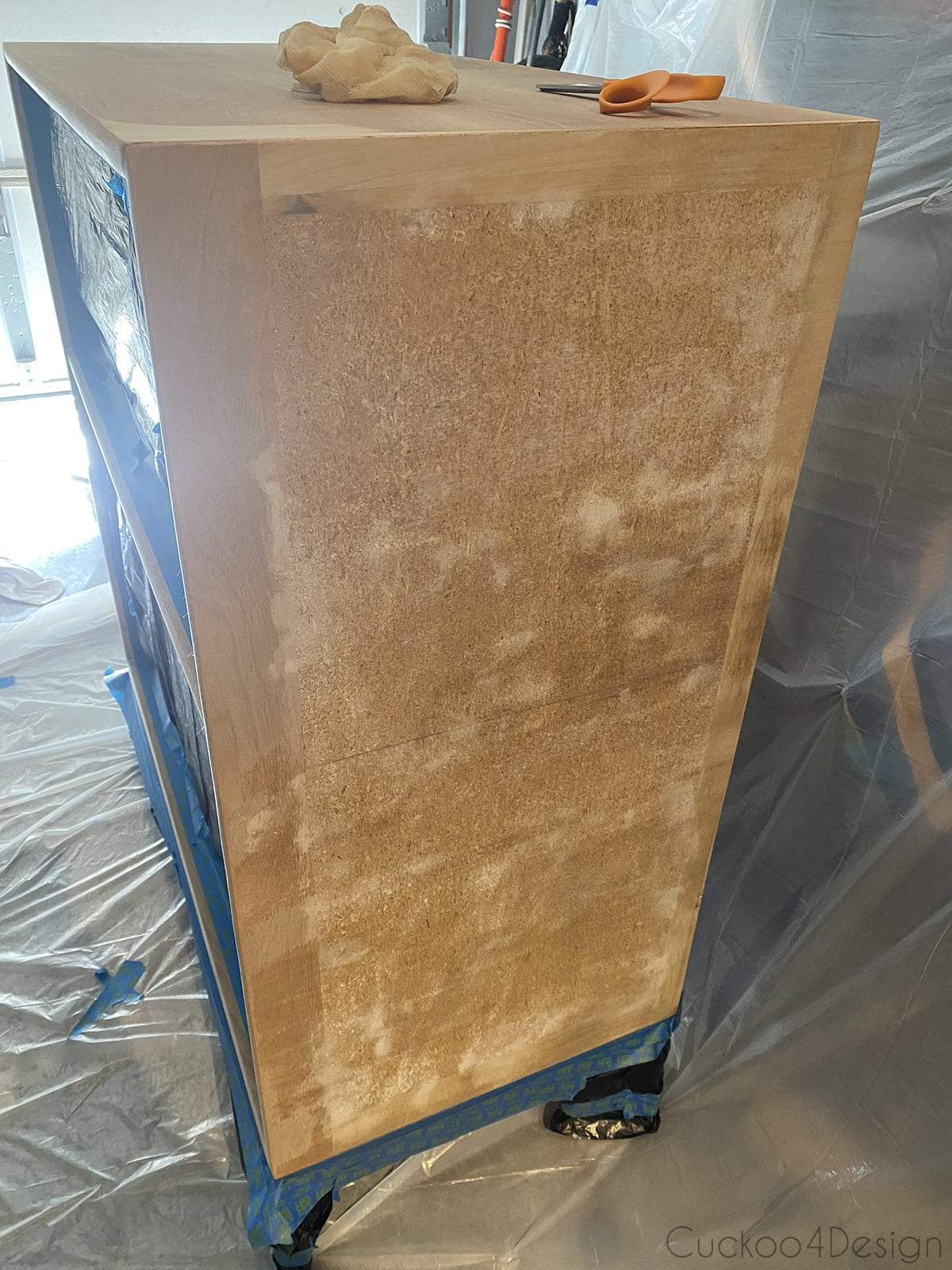 patched particle board before painting