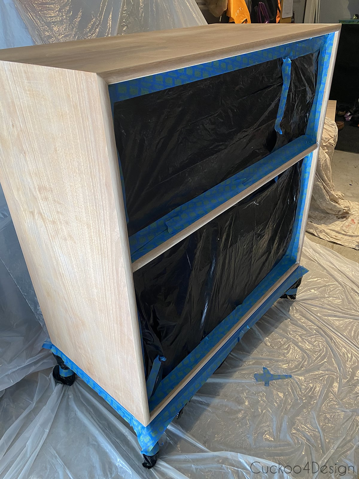 taped and sealed drawer cubbies before painting