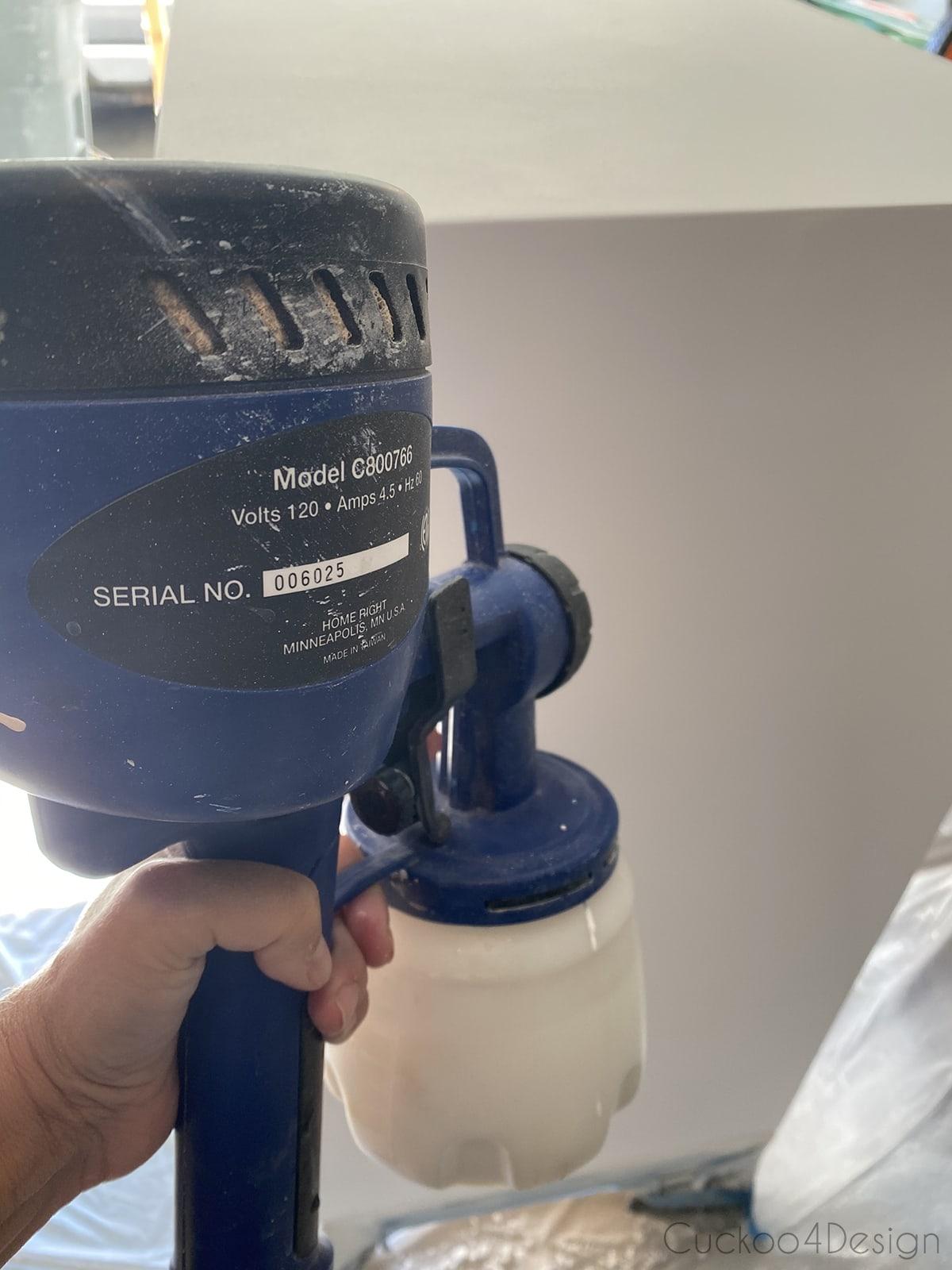 spraying clear coat on dresser