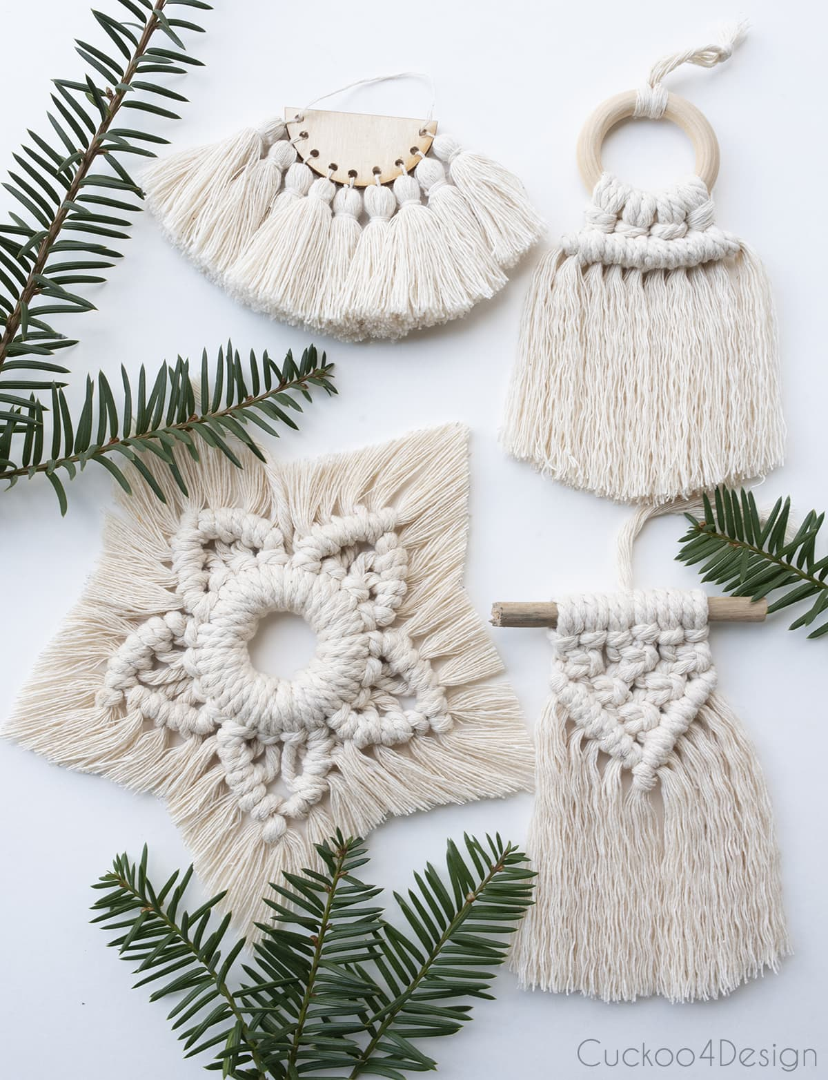 various different macrame Christmas ornaments made with my macrame tutorials