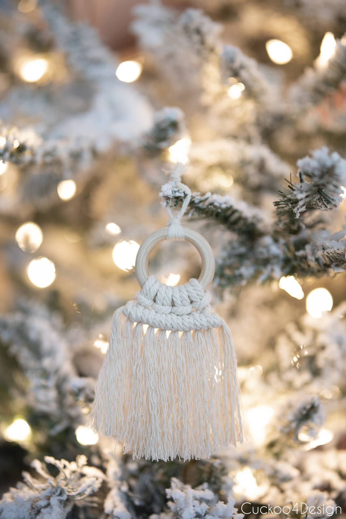 DIY macrame ornament hanging in Christmas tree