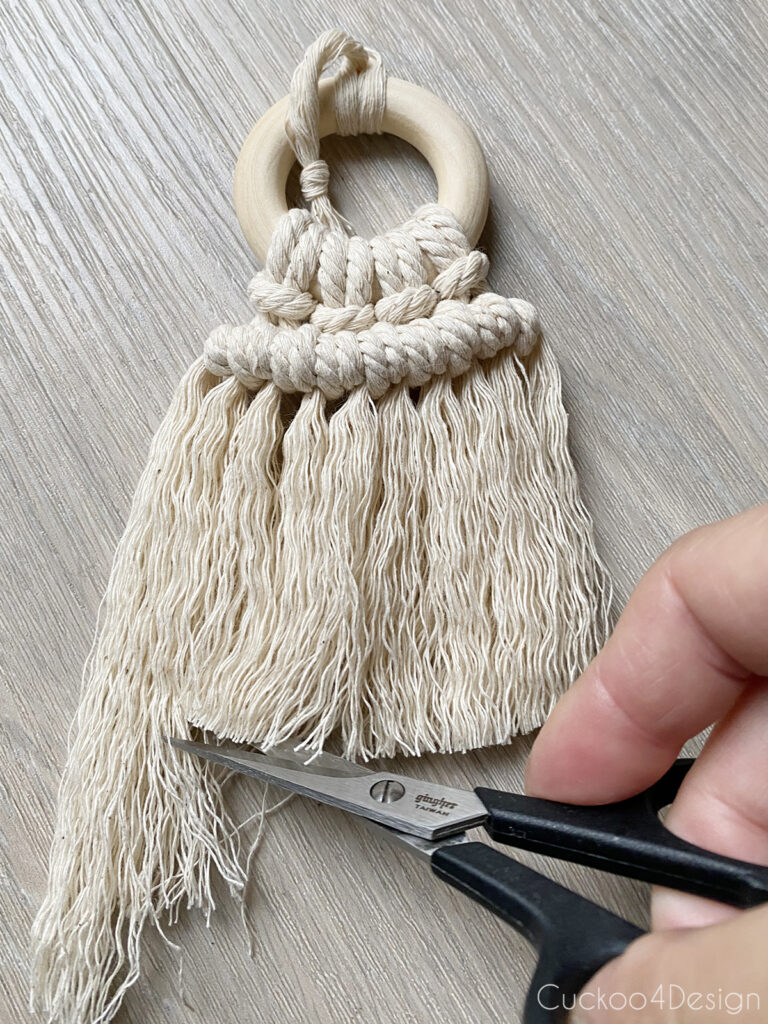 trim the fringe with sharp scissors