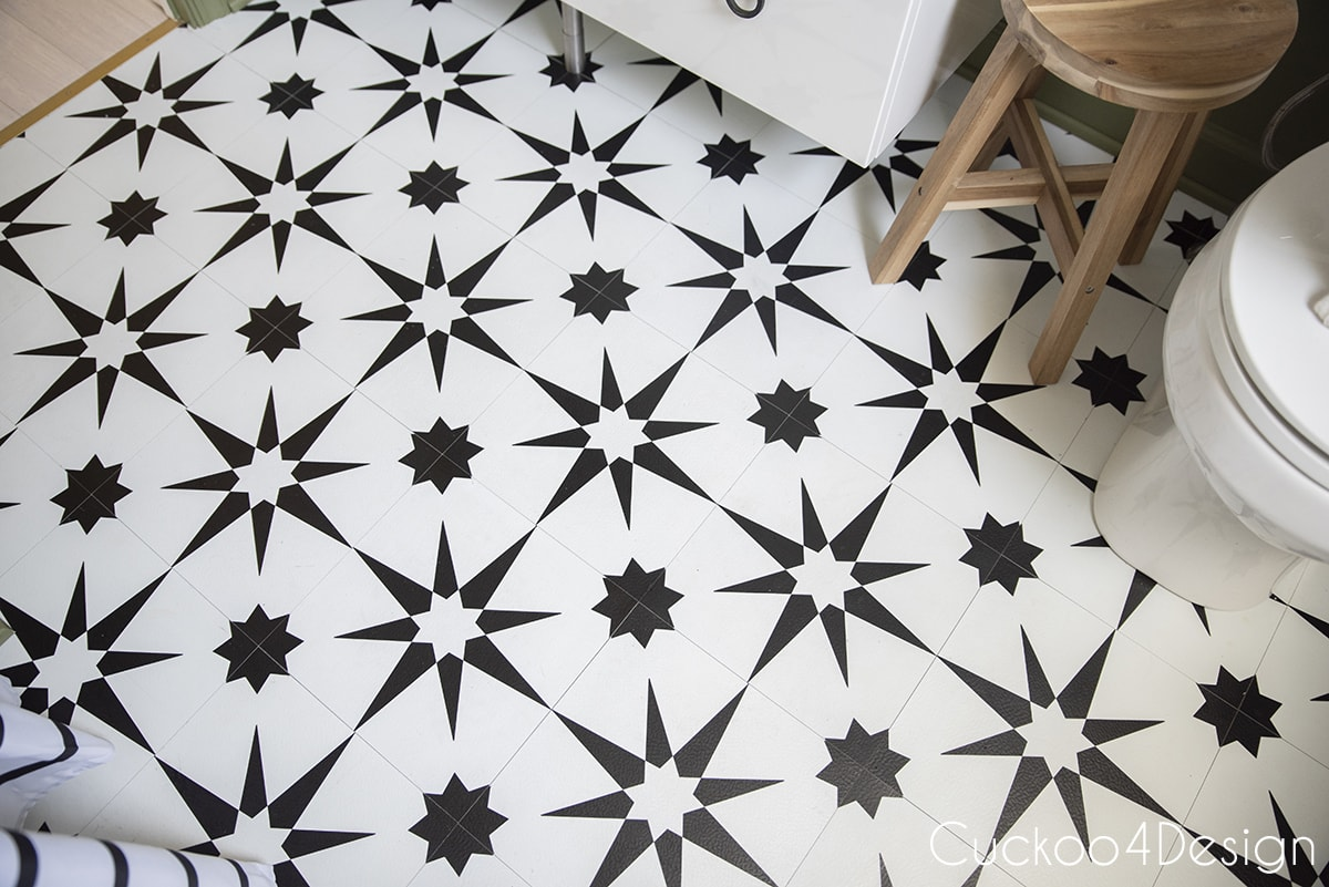 top view of black and white peel and stick floor tile