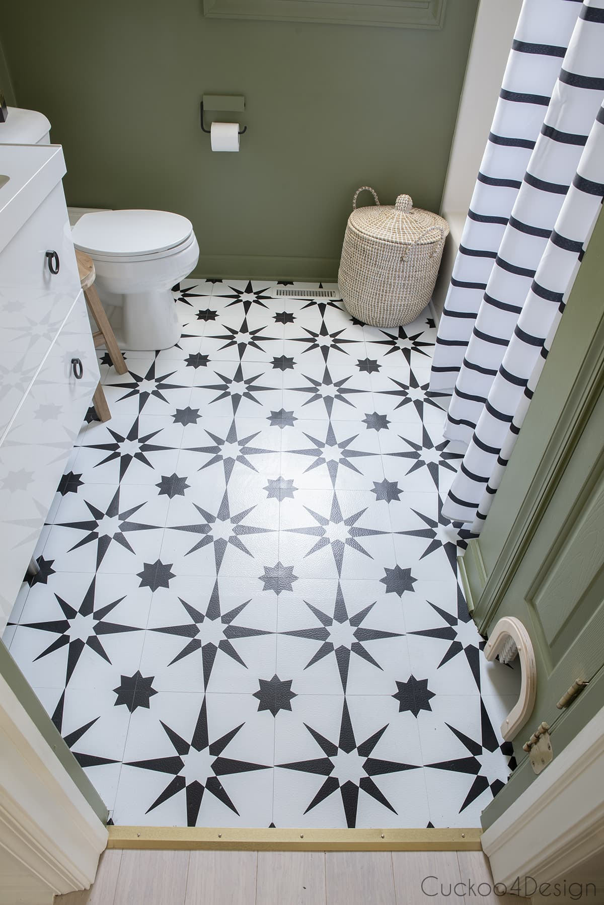 front view of black and white peel and stick floor tile