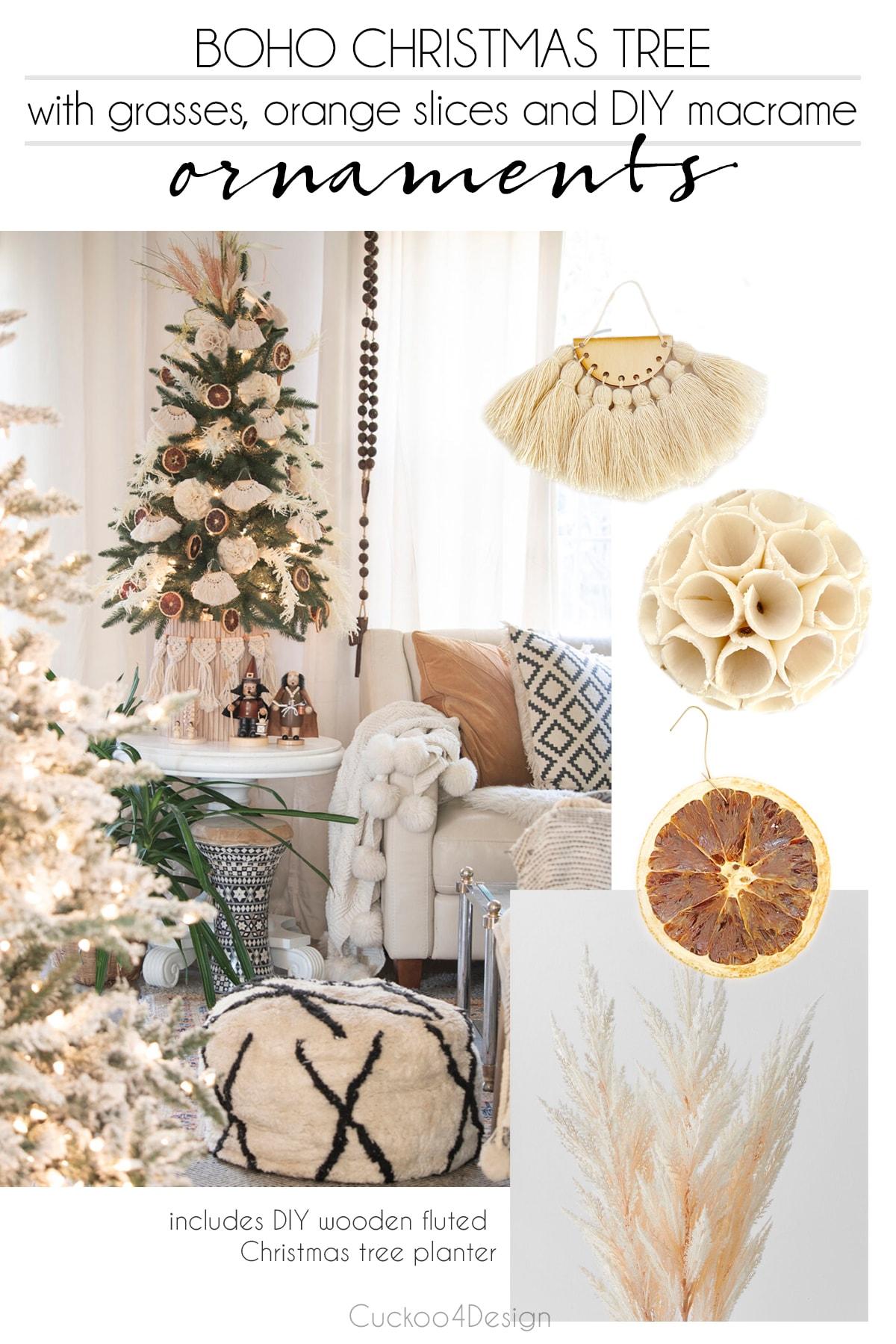 boho christmas tree with handmade macrame ornaments and DIY fluted Christmas tree planter