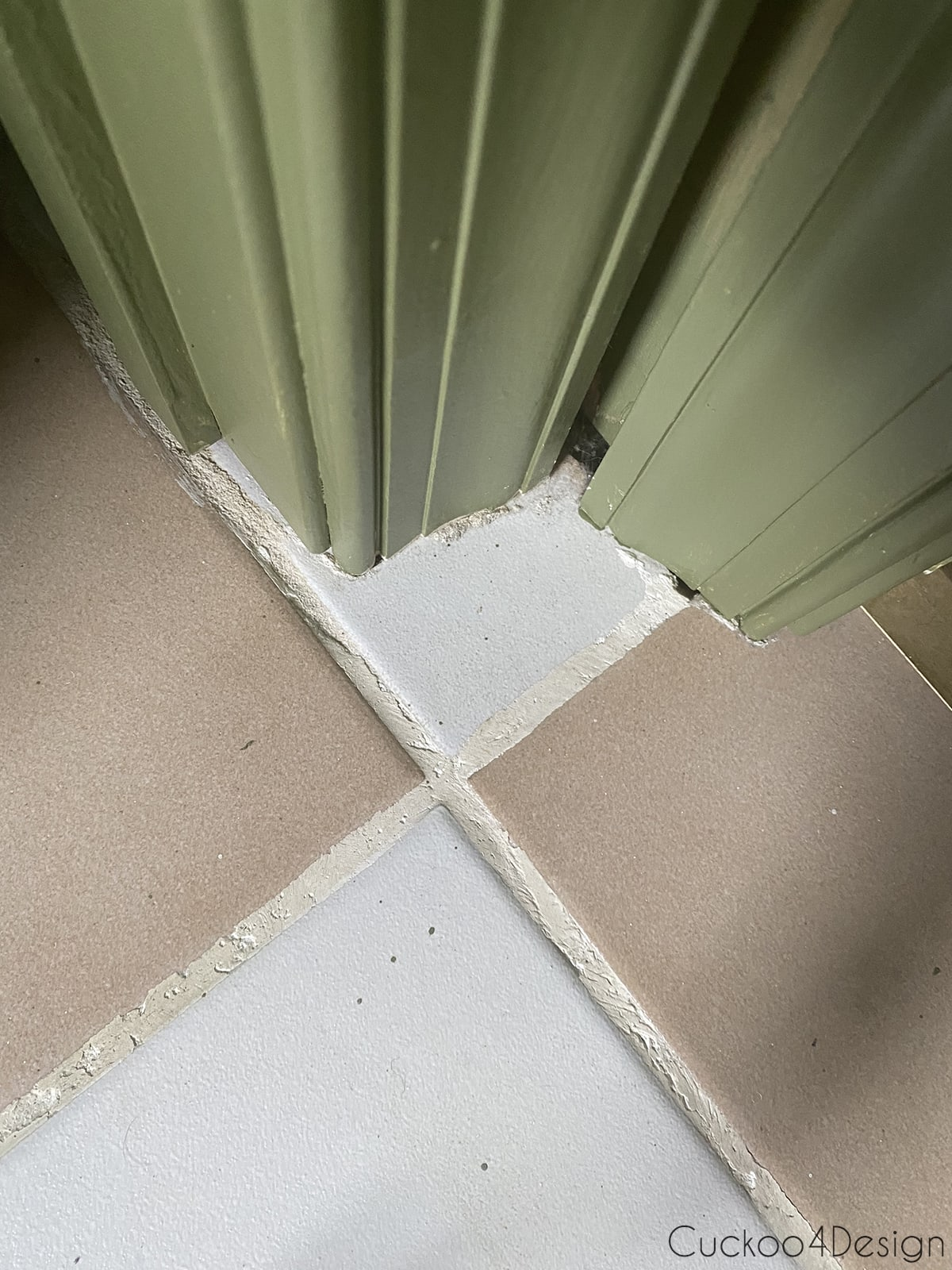 corners that need to get cut on cheap peel and stick floor tile
