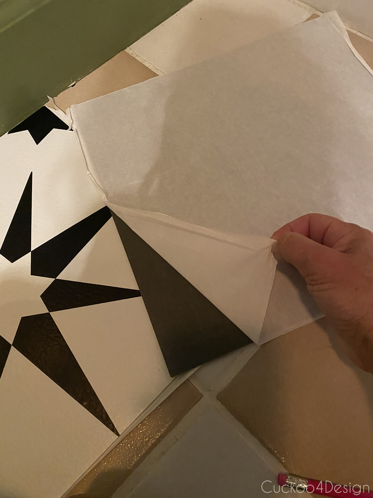 paper backing on cheap peel and stick floor tile