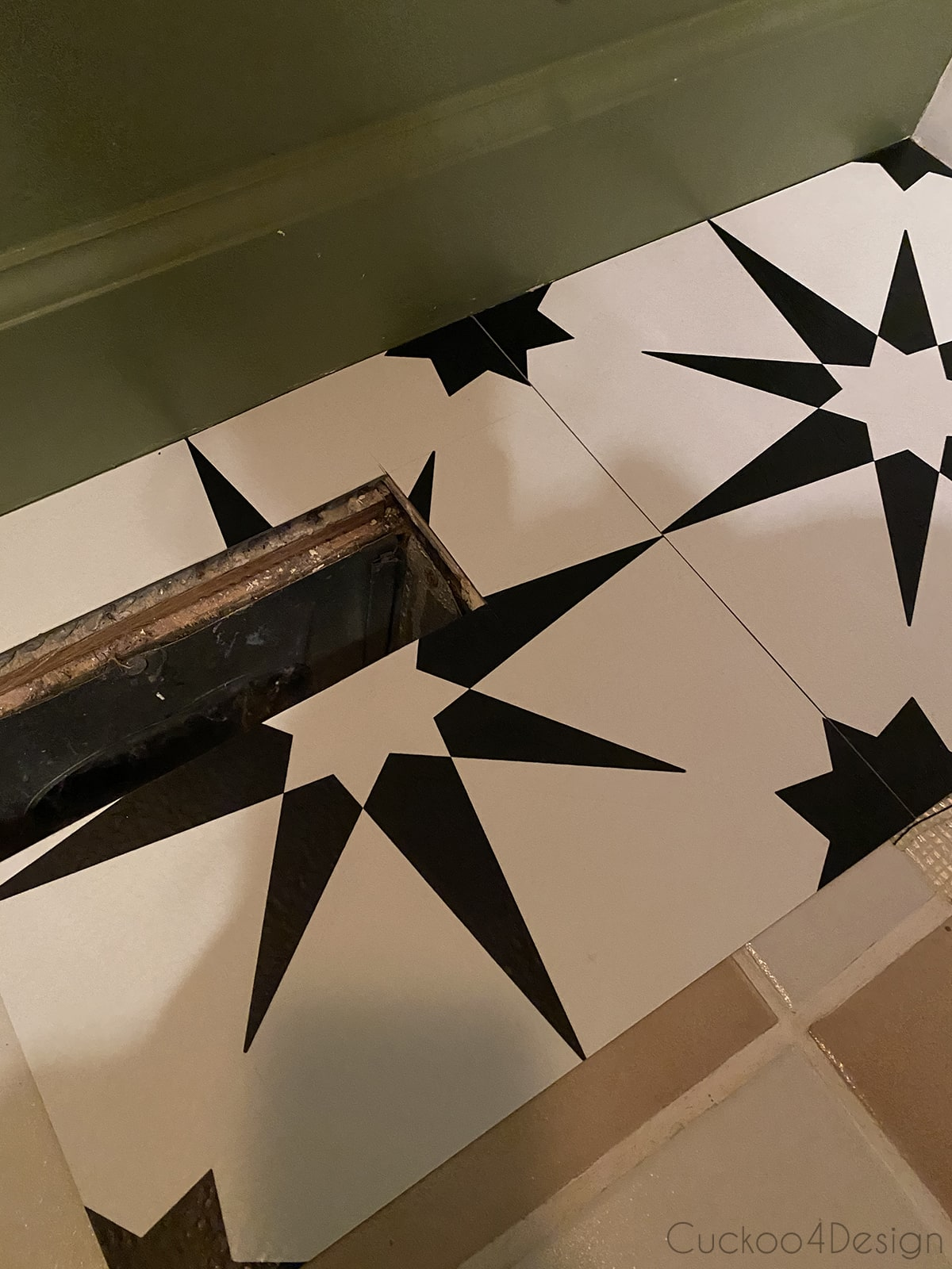air vent cutout in cheap peel and stick floor tile
