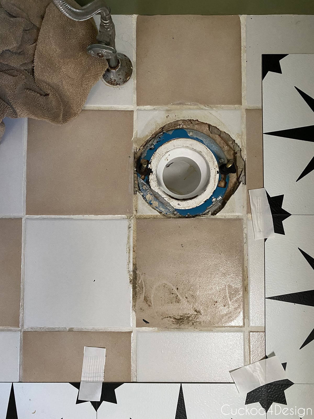 mess around toilet before applying cheap peel and stick floor tile