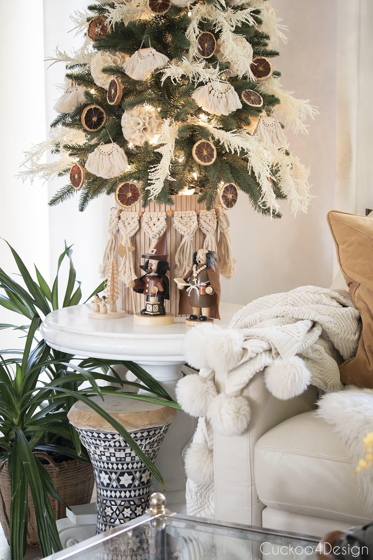 closeup of macrame garland around boho Christmas tree