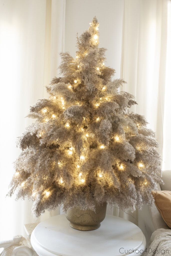 finished pampas grass Christmas tree with fairy lights