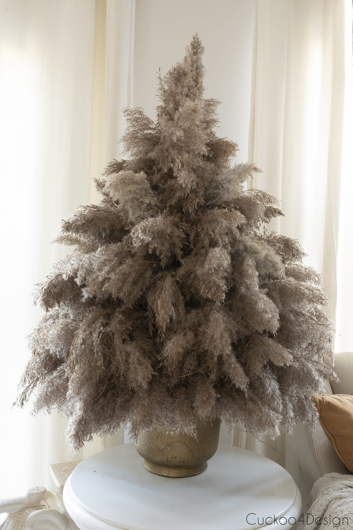finished pampas grass Christmas tree without lights