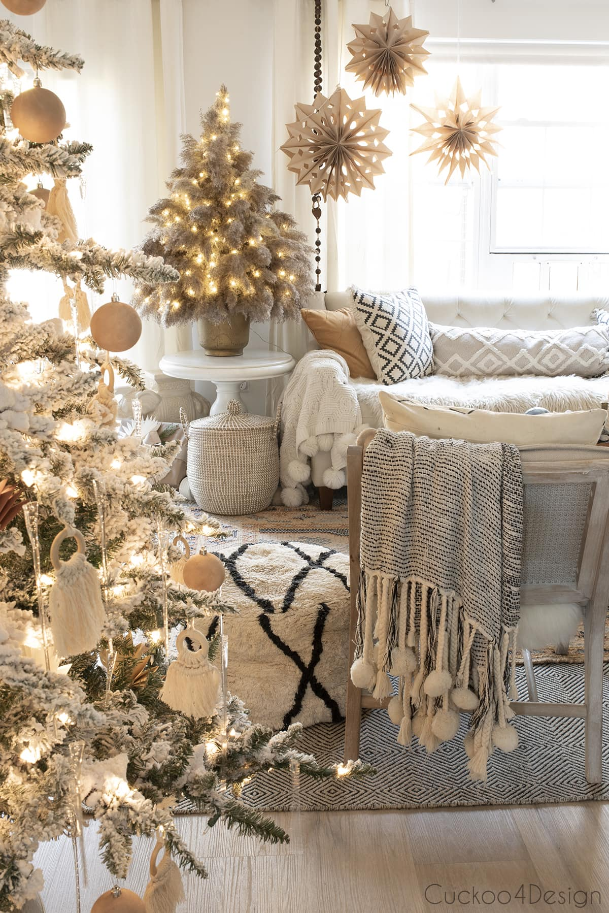 pampas grass Christmas tree in matching neutral living room