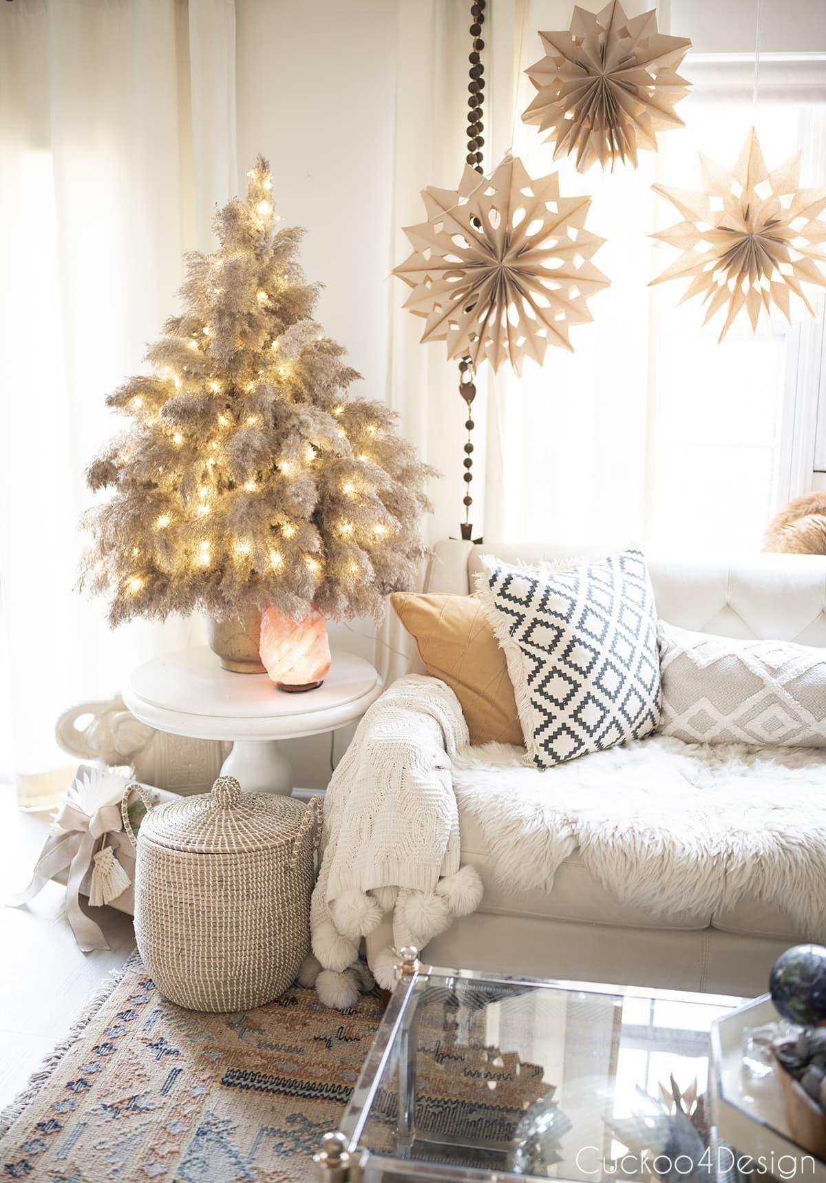 pampas grass Christmas tree with fairy lights