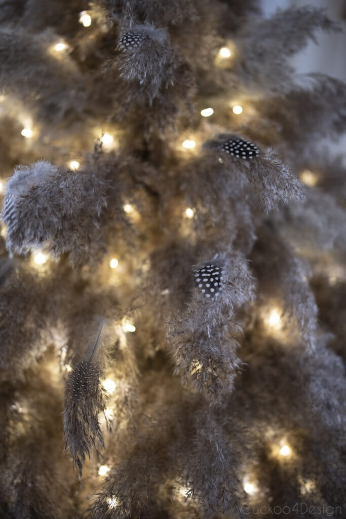 pampas grass Christmas tree decorated with feathers