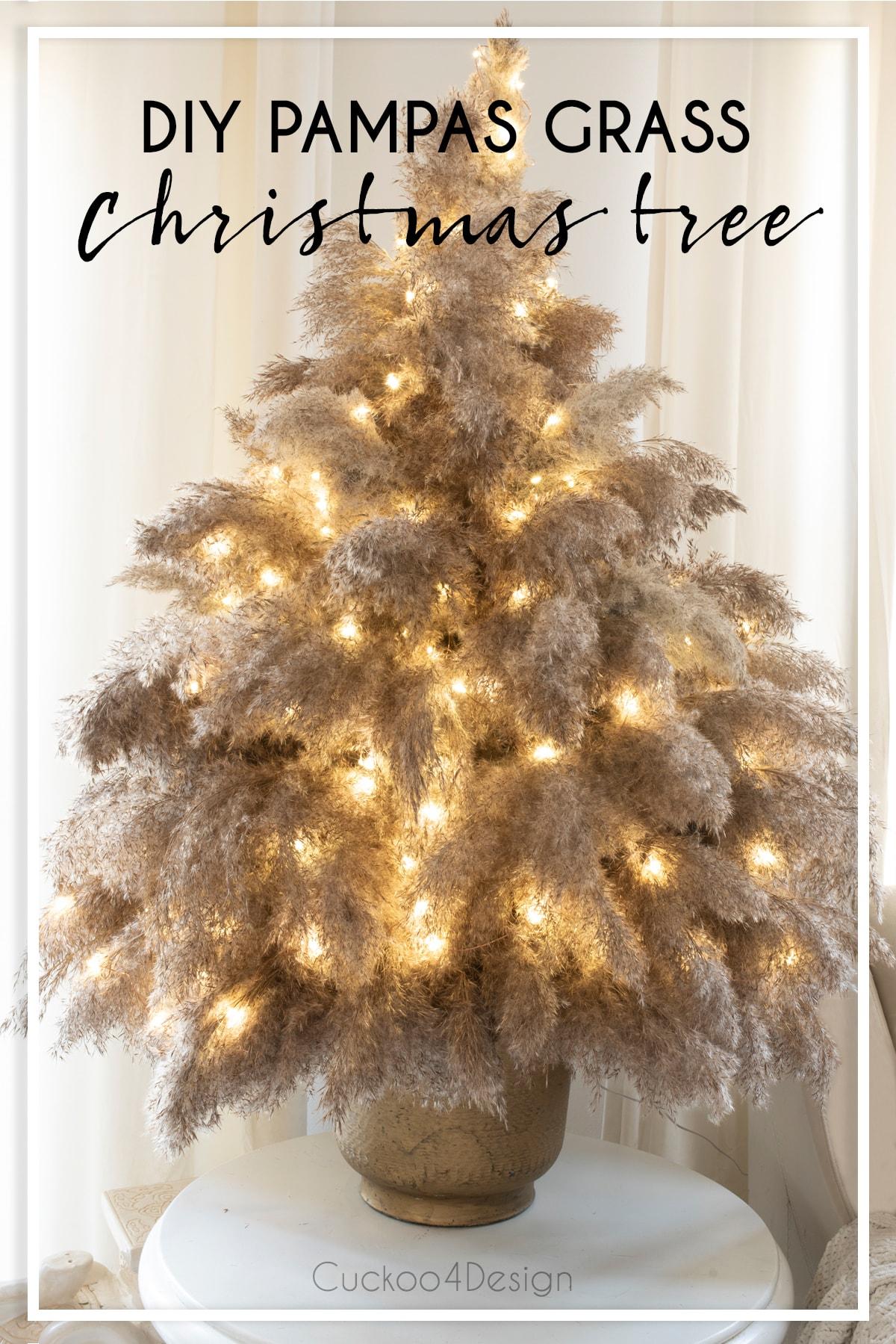 DIY pampas grass Christmas tree tutorial