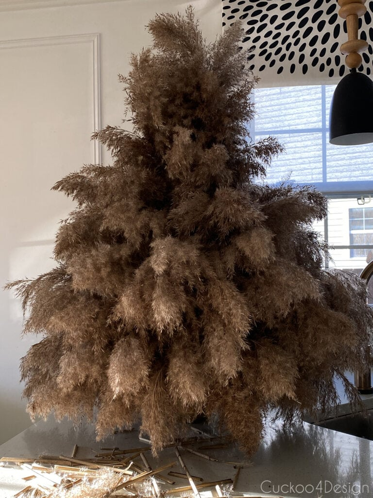 finished pampas grass Christmas tree before adding to pot