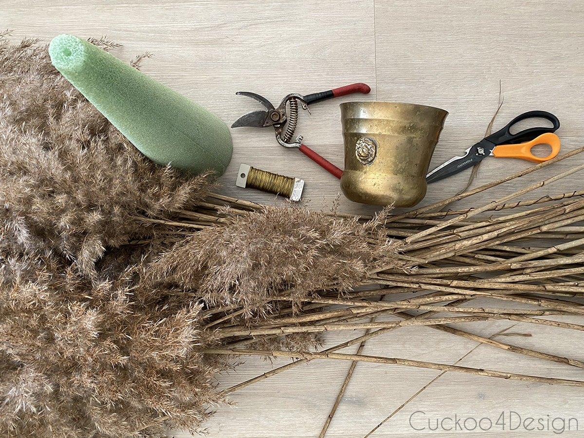 materials needed to make a pampas grass Christmas tree