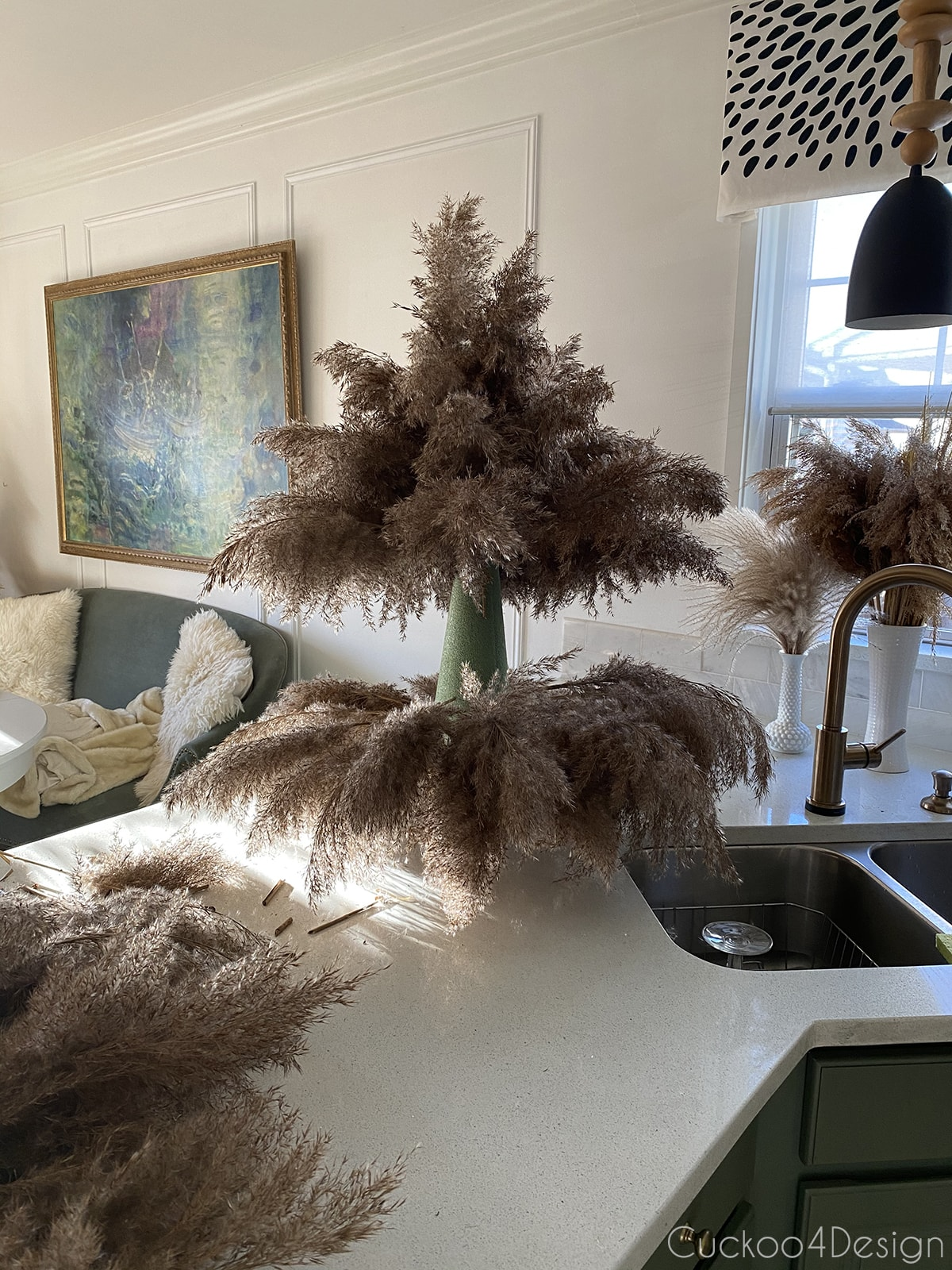 pampas grass Christmas tree partially done