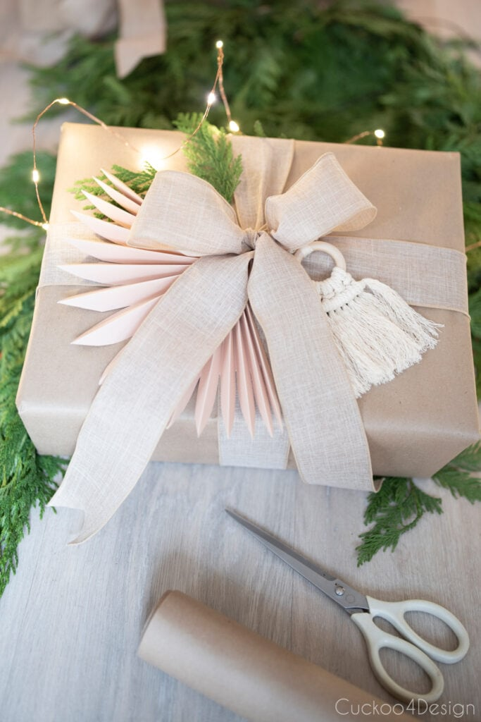 faux palm leaf paper fan decorations on presents