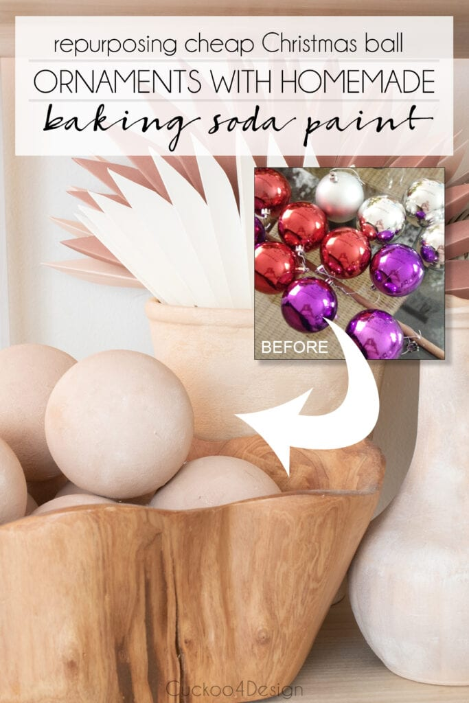 before and after of cheap Christmas ball ornaments that are painted with DIY baking soda paint