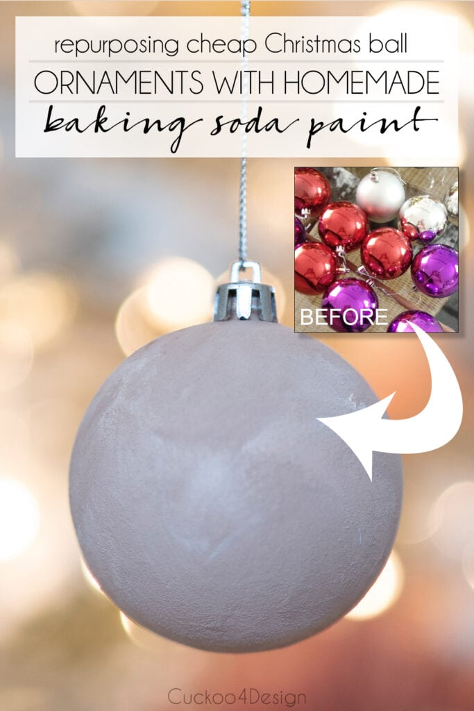 how to repurpose cheap Christmas ball ornaments with homemade baking soda paint