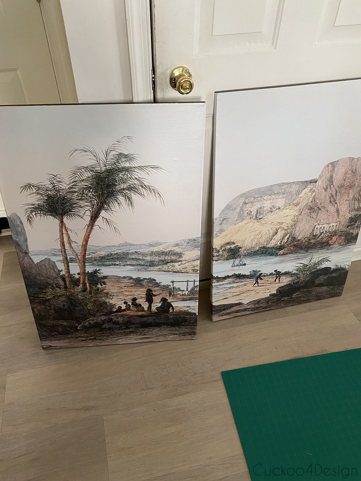 two finished pieces of DIY wall mural artwork on canvas