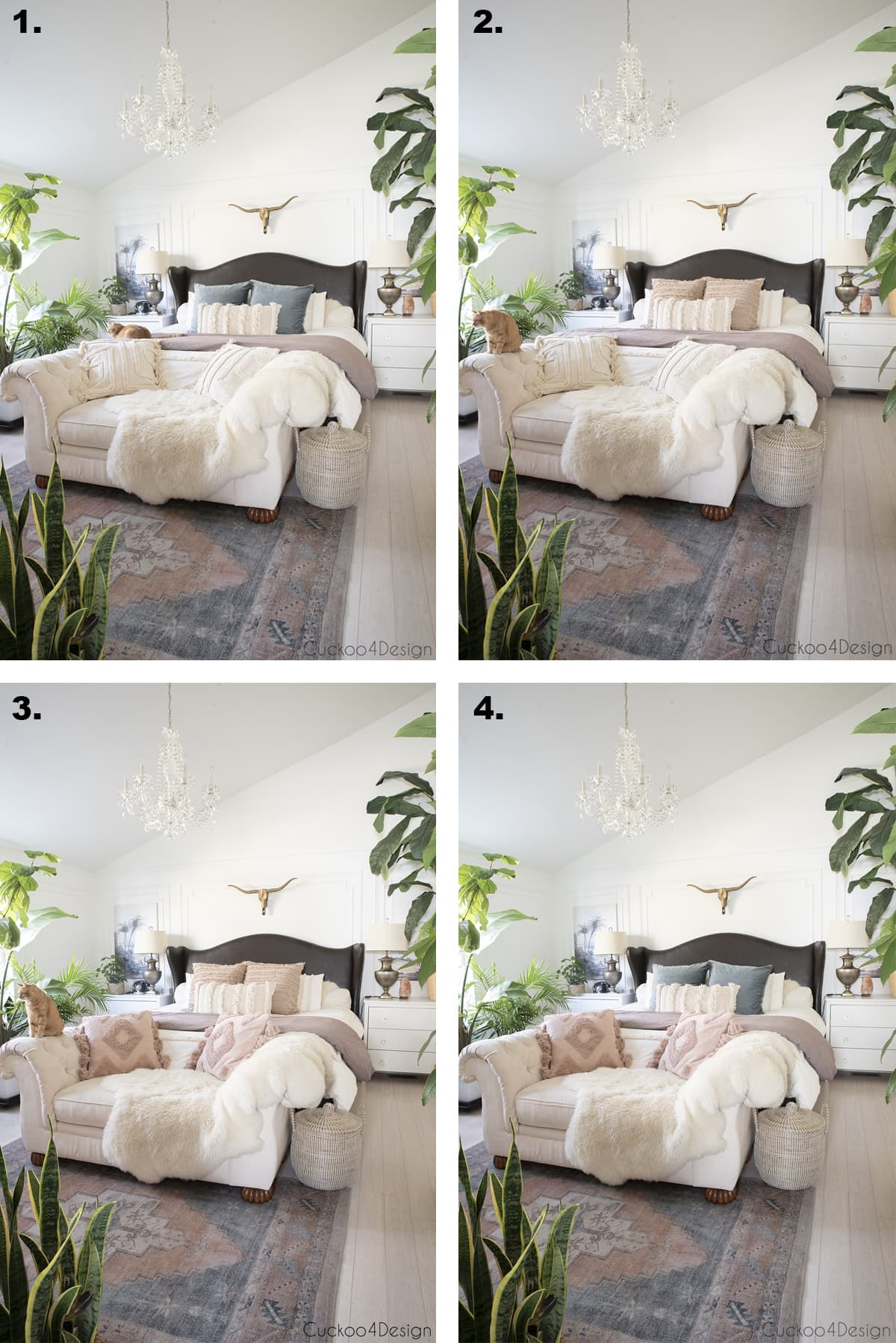 different pillow choices in bedroom