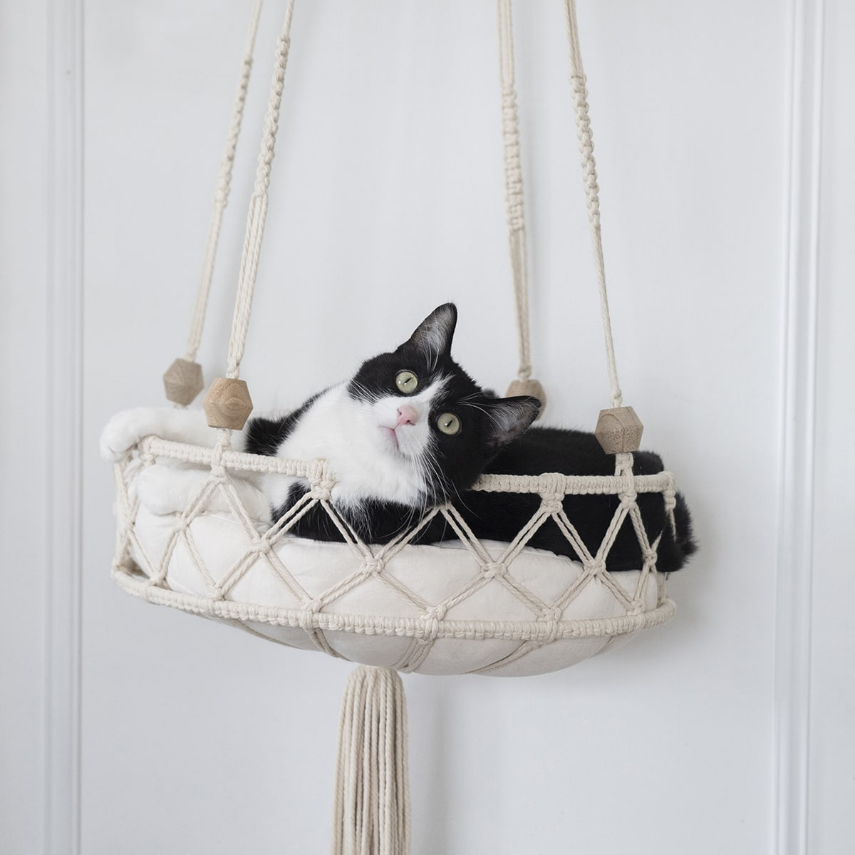 purrfectly cute DIY cat bed using macrame cord
