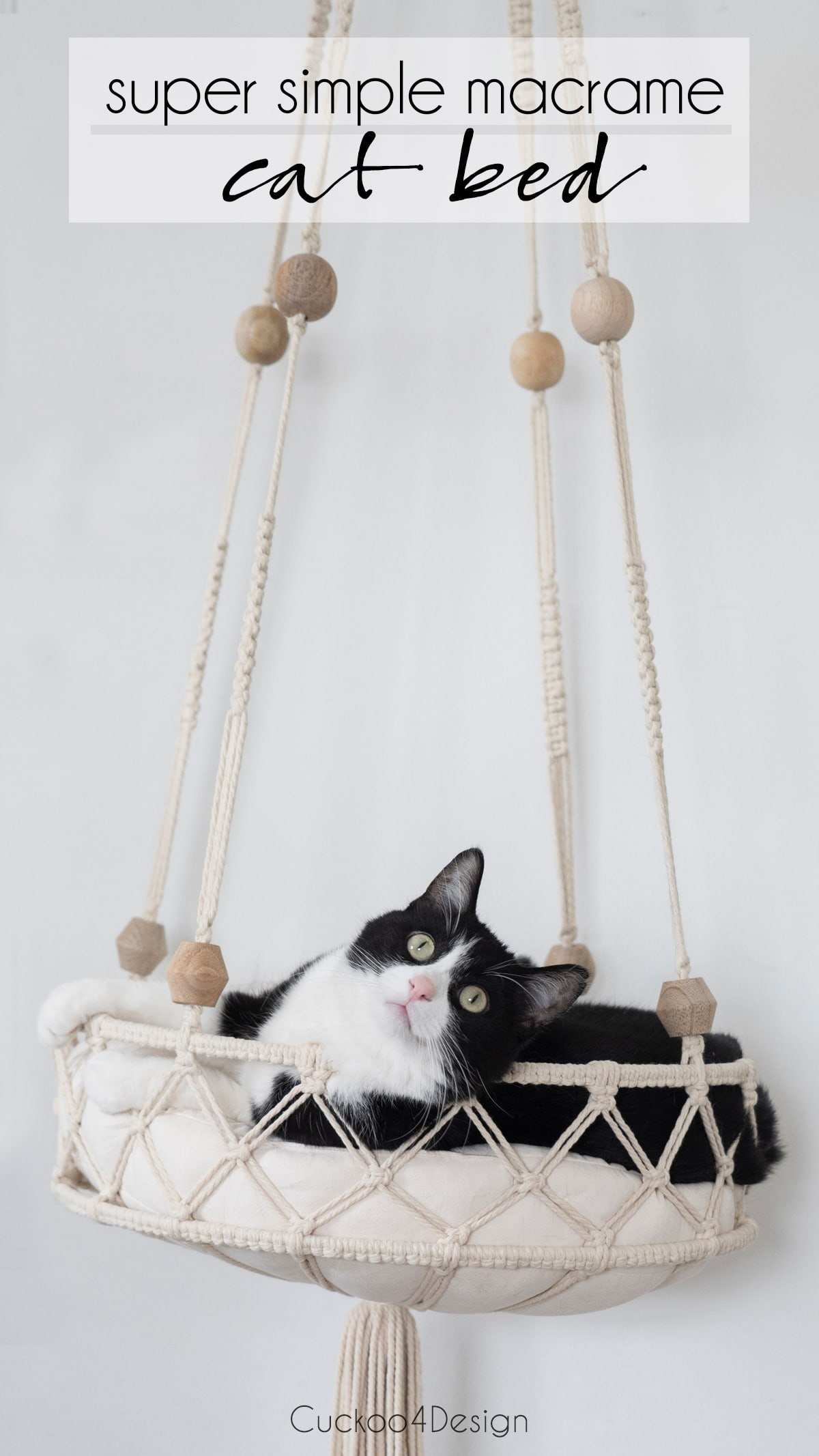 how to make a hanging macrame DIY cat bed