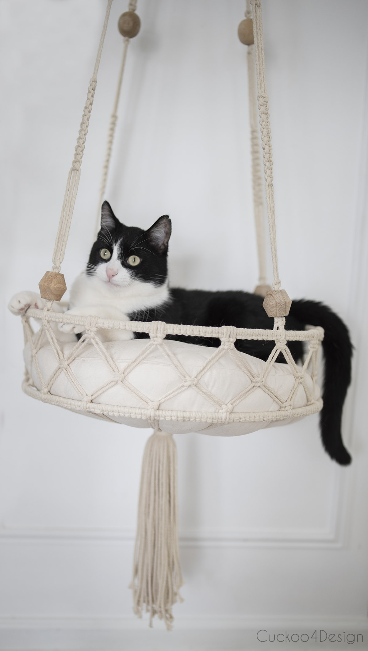 tuxedo cat lounging in hanging macrame cat bed
