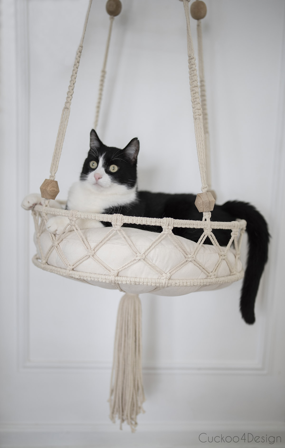 front view of macrame DIY cat bed