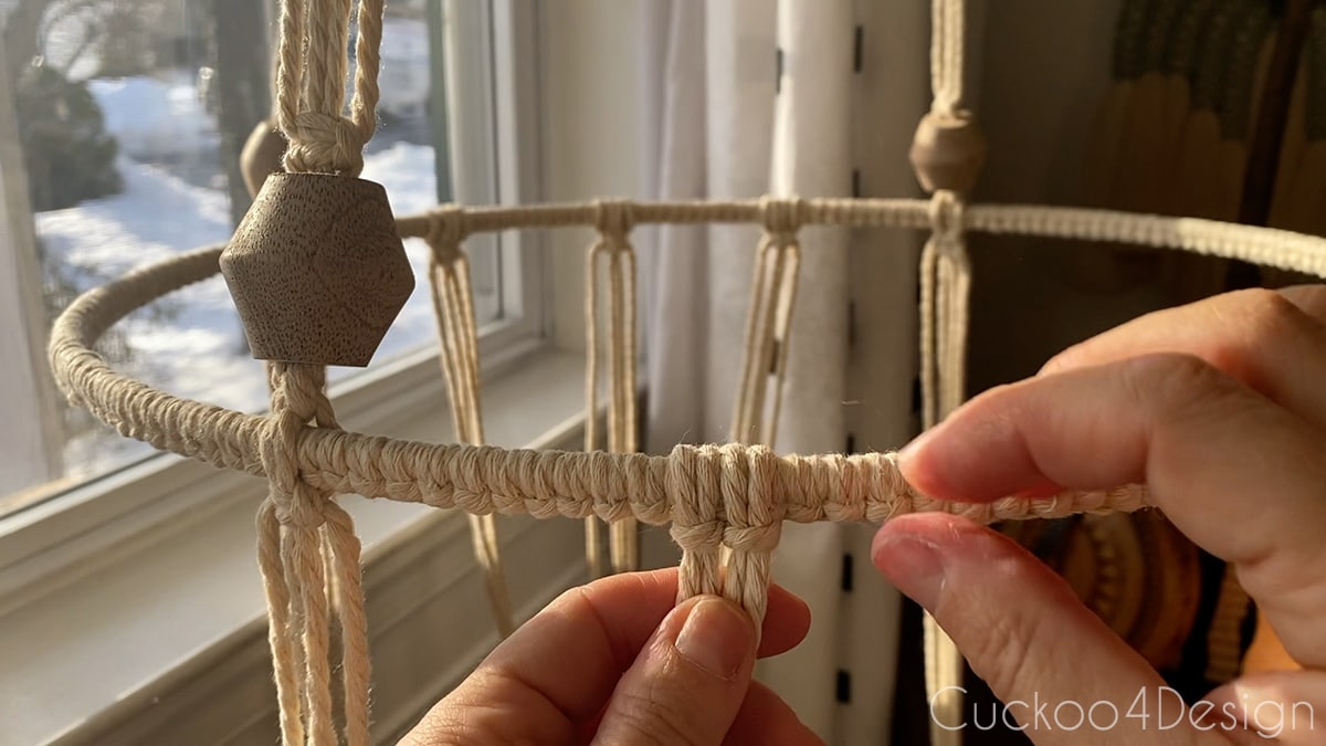 two Lark's Head Knots onto hoop