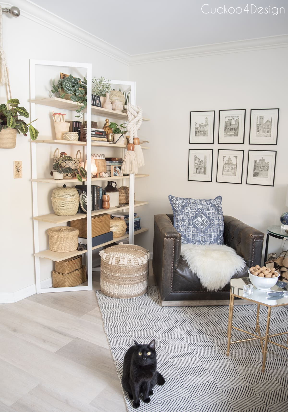 sideview of curated wooden bookshelf with beautiful house plants